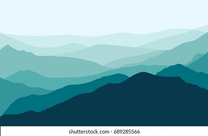 Mountains silhouette background. vector illustration