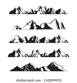 Mountains Silhouette Landscape in Panoramic Illustration Set