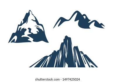 Mountains silhouettes black color on the white background. Vector set of outdoor design elements for travel company.