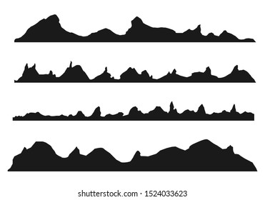 Mountains silhouettes on the white background. Wide semi-detailed panoramic silhouettes of highlands, mountains and rocky landscapes. Isolated Row of Mountains in Vector