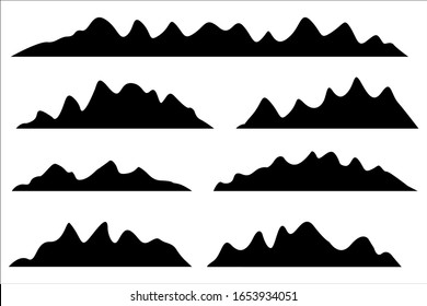 Mountains silhouettes on the white background. Vector set of outdoor design elements