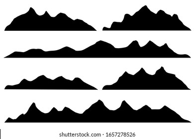 Mountains silhouettes on the white background. Isolated Row of Mountains in Vector Illustration