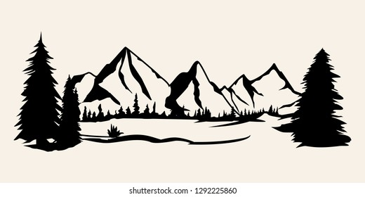 Mountains silhouettes. Mountains vector, Mountains vector of outdoor design elements, Mountain scenery, trees, pine vector, Mountain scenery.