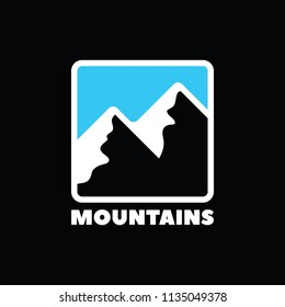 Mountains simple vector icon.
