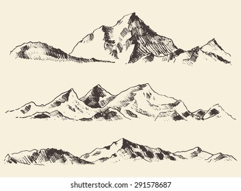 Mountains sketch, engraving style, hand drawn vector illustration