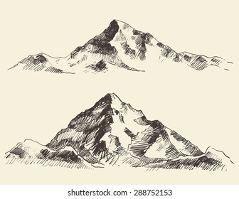 Mountains sketch, hand drawn vector illustration