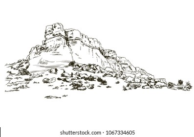 Mountains sketch White Rock Crimea, engraving style, hand drawn vector illustration
