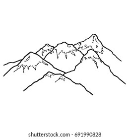 Mountains with snow caps. Hand drawn mountain range. Vector illustration.