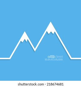 The mountains with snowy peaks. Vector icon.