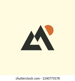 Mountains stylized vector icon.