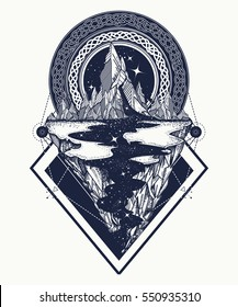 Mountains tattoo geometric style. Adventure, travel, outdoors, symbol, boho style, t-shirt design. Star river and mountains, hipster style