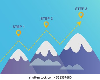 Mountains three steps diagram template.Vector EPS 10