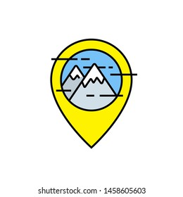Mountains travel line icon. Outdoor navigation marker symbol. Yellow GPS map pin with mountain peak sign. Vector illustration.