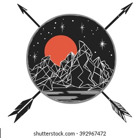 Mountains under starry sky, crossing arrows. Vector template in boho style. Emblem, tattoo sketch, decorative element, illustration