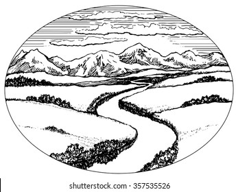 Mountains and valley with river landscape, ink drawing vector illustration