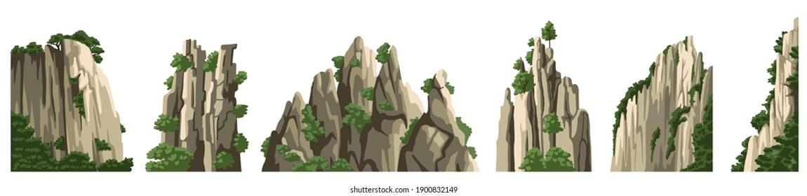 Mountains vector elements. Rocks, hills, stones, isolated on white background. Asian landscape. Cartoon illustration.