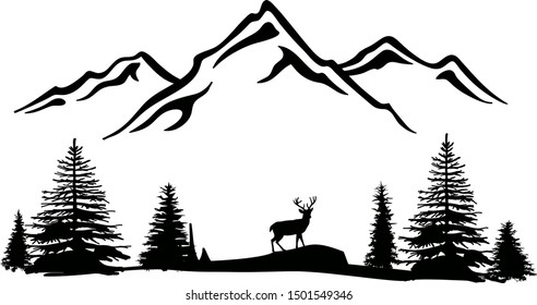 Mountains vector file. Forest landscape clipart. Camping and travel print.