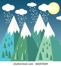 Mountains, vector illustration.