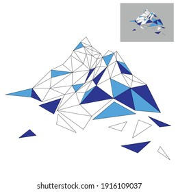 Mountains. Vector illustration in low poly style. Abstract polygonal mount. Print design