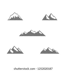 Mountains vector illustration, snow-covered slopes set, flat silhouette, icon, logo, sticker, texture, abrasion