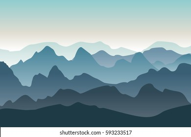 Mountains vector landscape. Nature background in the morning. Peaked mountain ranges.