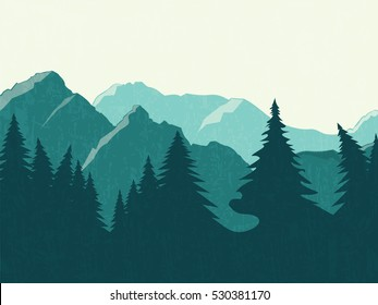 Mountains vector landscape. Panoramic view of the forest and mountains. Flat design