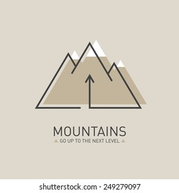 Mountains, Vector logo in line style. Mono line logotype template with up arrow and snow-capped mountains in the background