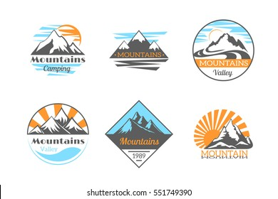Mountains vector logo set. Mountain rock outdoor camping labels. Climbing label, hiking travel and adventure illustration