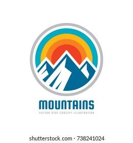Mountains - vector logo template illustration. Outdoor adventure creative badge sign. Graphic design element.