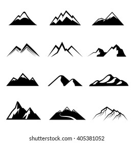 Mountains vector. Nature or outdoor mountain silhouettes and mountain peaks for logo with mountains
