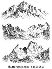 Mountains vector set. Hand drawn rocky peaks