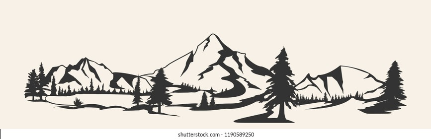 Mountains vector.Mountain range silhouette isolated vector illustration. Mountains silhouette.