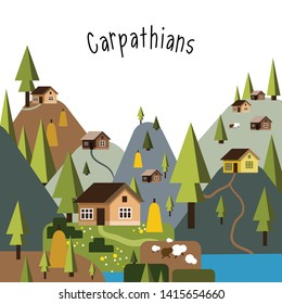 Mountains village. Vector flat illustration. Traditional Hutsul houses in the Carpathians, Ukraine. Houses in the mountains among the trees, rest in a mountain village the river.  - Vector