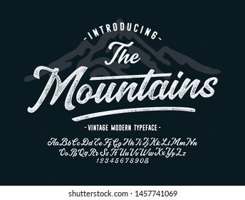 """ The Mountains"". Vintage Brush Script Modern Alphabet. Retro Typeface. Vector"