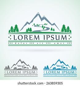 Mountains vintage vector logo design template, green tourism icon.