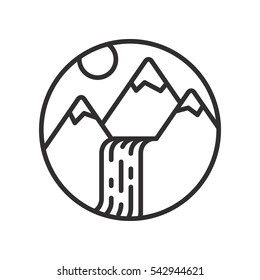 Mountains and waterfall linear icon.