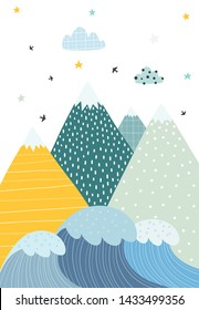 Mountains and waves in a scandinavian style. Illustration of nature for children. Vector illustration with a simple objects.