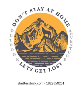 Mountains and wolf outdoor scene illustration with slogan