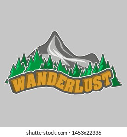Mountains and wood with the word wanderlust