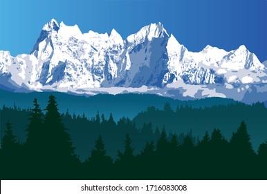 山と木の国、大きなヒマラヤの範囲のベクターイラスト