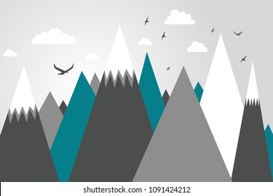 Mountainscape, mountain mural, kid's room design, scandinavian decor, birds flying in mountains, trendy, modern print, wallpaper, mountain landscape