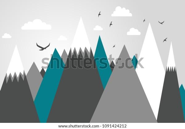 Mountainscape Mountain Mural Kids Room Design Stock Vector