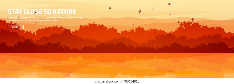 Mountains,lake and forest header. Wild nature landscape. Travel and adventure.Panorama. Into the woods. Horizon line.Trees,fogfog.