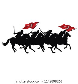 Mounted Turkish soldiers vector drawing