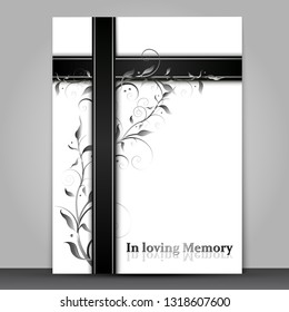 Mourning card with 3d effect ornament and In loving Memory text isolated on grey background