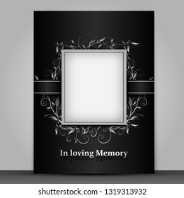 Mourning card standard size with photo frame isolated on grey background