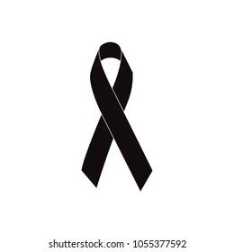 Mourning ribbon, Black awareness ribbon isolated on white background. Black ribbon icon for pray, mourning symbol, logo, sign. Vector illustration