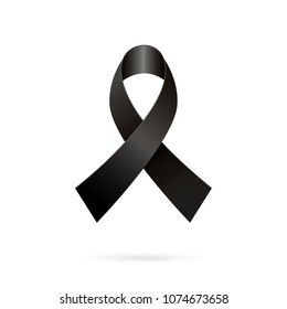 Mourning ribbon. Black awareness tape on a white background. Vector illustration of black ribbon icon for pray.