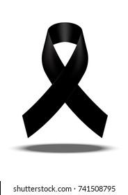 Mourning symbol. RIP Funeral card Black Awareness Ribbon Background Vector