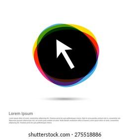mouse arrow cursor icon, White pictogram icon creative circle Multicolor background. Vector illustration. Flat icon design style